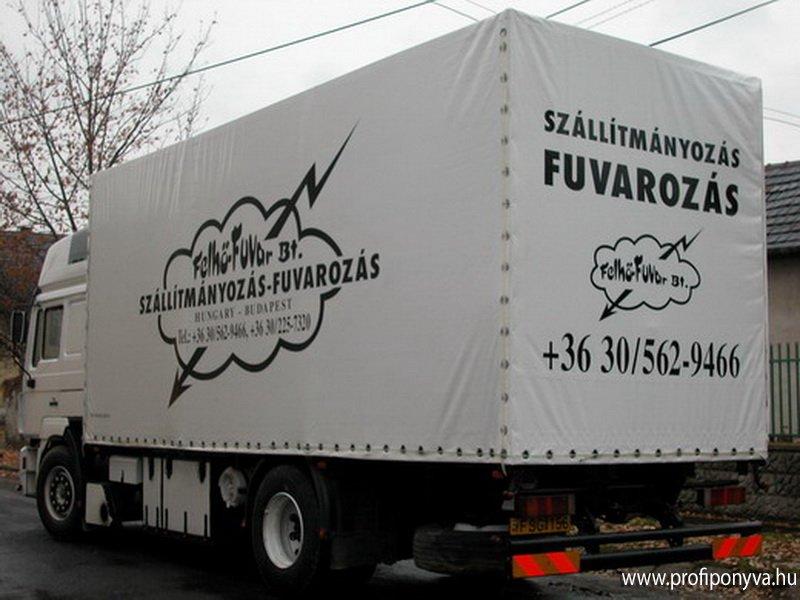 Feliratos teherautó ponyva