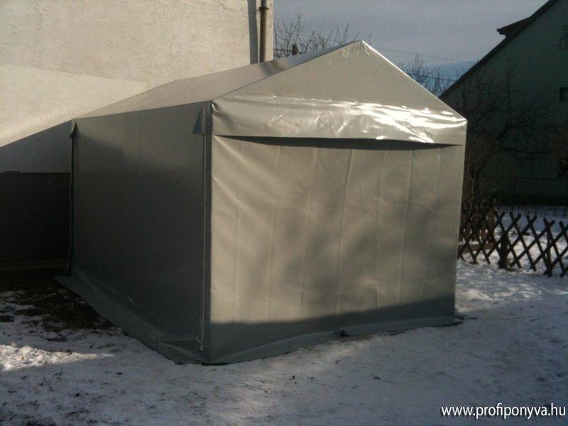 Szürke ponyva garázs